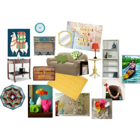 Colorful living room mood board via zombies4breakfast.com