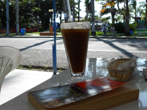 Iced coffee and good book in Bocas del Toro, Panama