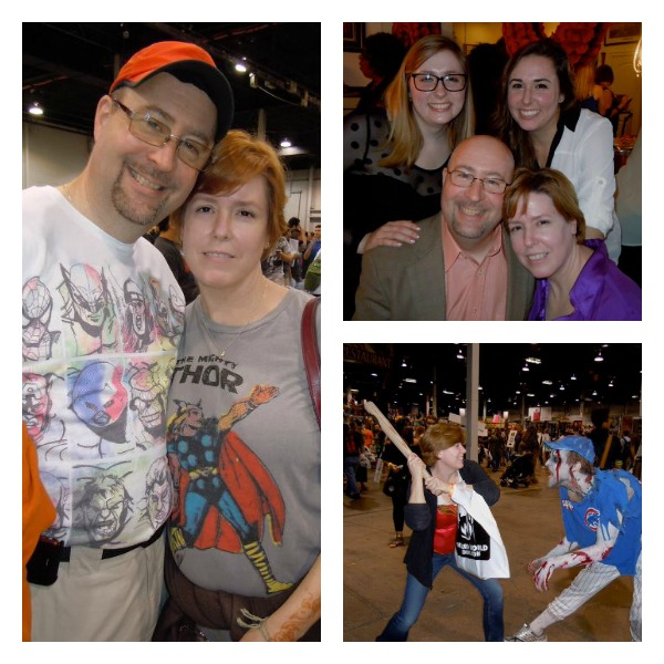 Left: Mom and Dad posing at comic con in 2011  Top: The whole family together at my Uncles' wedding Bottom: My mom fends of a zombies at  the Chicago Wizard Con, 2012