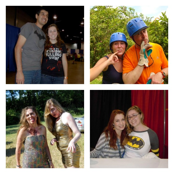 Top L: Me and Javi at Wizard Con Top R: My dad and I (doing Dr. Evil) in Costa Rica Bottom L: My sis and I as zombies in the Run for Your Lives race in Indianapilis Bottom R: My badass sister posing with Felicia Day