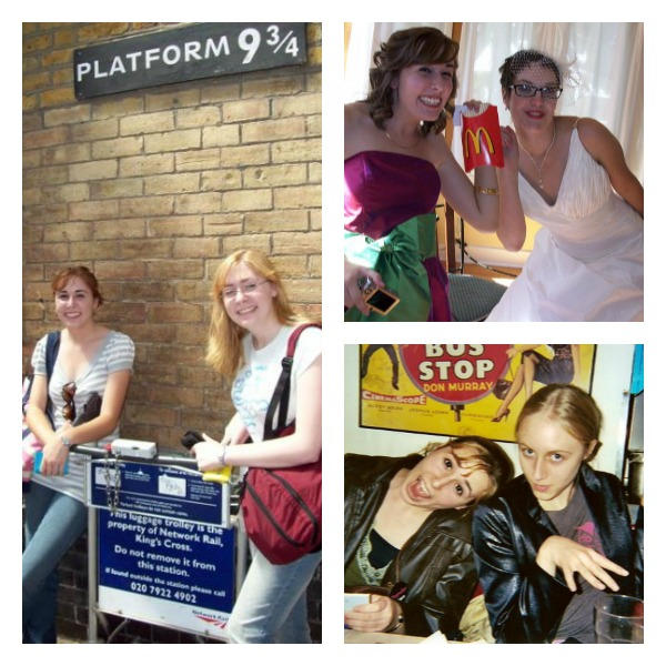 Left: Me (at 18) and my sis at King's Cross in London  Top: Me and Michelle on her wedding day  Bottom: Me and Sarah in NYC at 16