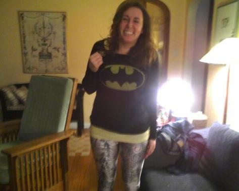 Middle Earth leggings + Batman pullover + Mockingjay Pin = PERFECTION